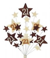 Star age 21st birthday cake topper decoration in choc and cream - free postage